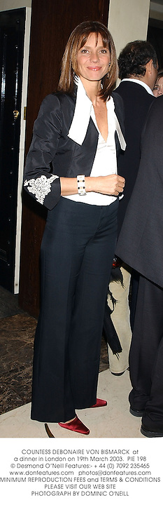 COUNTESS DEBONAIRE VON BISMARCK  at a dinner in London on 19th March 2003.		PIE 198