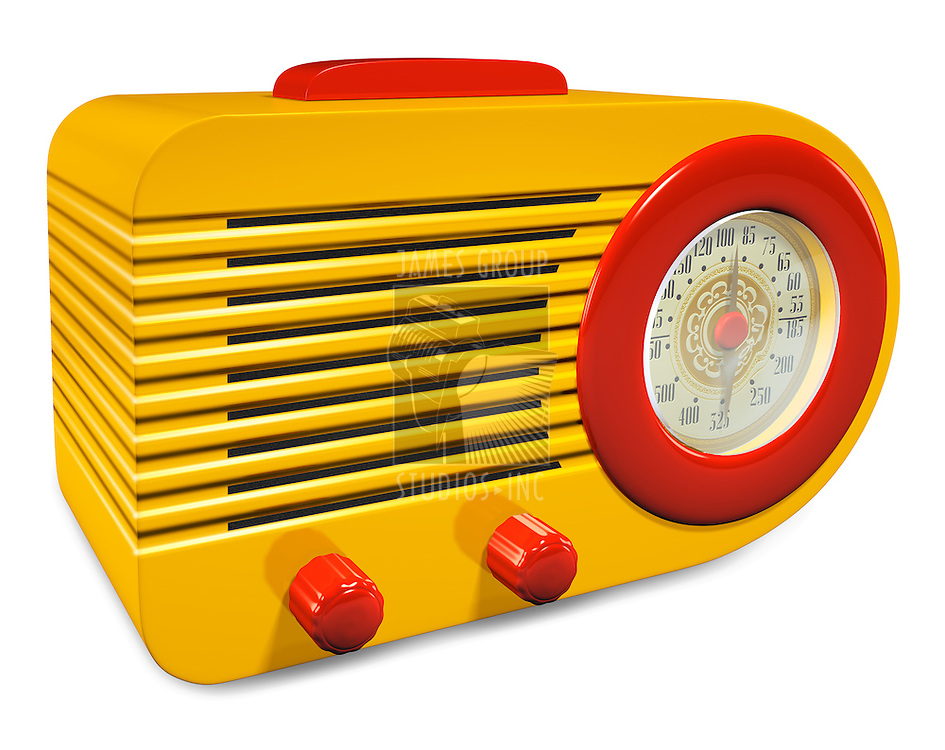 Yellow and Red plastic vintage radio on white background