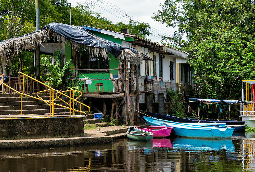 Boat dock in Frio River in the Caño Negro Wildlife Refuge in Costa Rica.