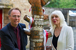 Pictured: Dr Alasdair Allan and Paula Sapietis<br /> <br /> Late sculptor who survived concentration camp horror. Latvian Zigfrids Sapietis settled and worked in Newbattle, Midlothian, until his death aged 90 in 2014. His widow, Paula, today unveiled one of his works, Tree of Life, which she has gifted to Newbattle Abbey College. Latvia's Honary Consul to Scotland, John McGregor and Dr Alasdair Allan, MSP, Minister for International Development and Europe were among the invited guests.<br /> <br /> Ger Harley: 1 September 2017