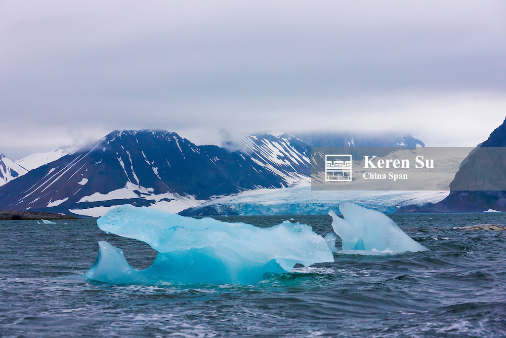 Floating ice in Hornsund, Spitsbergen's southernmost fjord, Norway