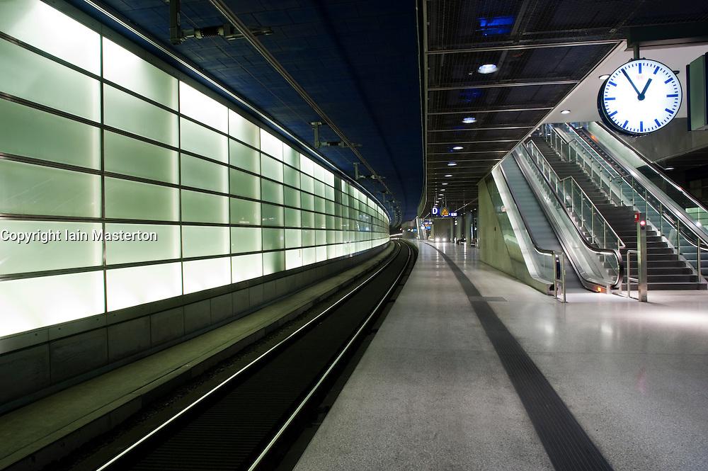 Platforms at modern Potsdamer Platz railway station in Berlin 2009