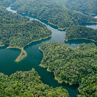 An aerial view over Batang Ai reservoir, located in western Borneo. Sarawak, Malaysia.