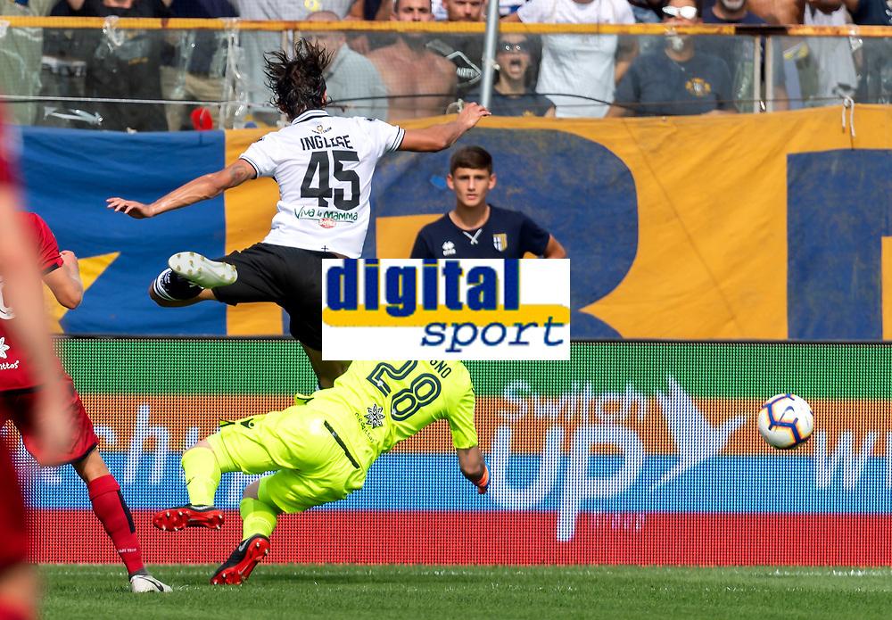 Roberto Inglese Parma Gol . Alessio Cragno Cagliari <br /> Parma 22-09-2018 Stadio Ennio Tardini Football Calcio Serie A 2018/2019 Parma - Cagliari <br /> Foto Andrea Staccioli / Insidefoto