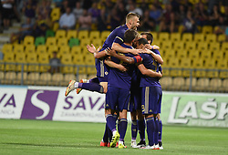 Players of Maribor celebrate during 2nd Leg Football match between NK Maribor (SLO) and Valur Reykjavík (ISL) in First qualifying round of UEFA Champions League 2019/20, on July 17, 2019, in Stadium Ljudski vrt, Maribor, Slovenia. Photo by Milos Vujinovic / Sportida