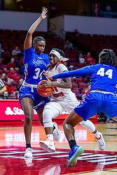 NORMAL, IL - January 03: A double team by Cece Mayo and Caitlin Anderson doesn't stop Tete Maggett from getting to the hoop during a college women's basketball game between the ISU Redbirds and the Sycamores of Indiana State January 03 2020 at Redbird Arena in Normal, IL. (Photo by Alan Look)