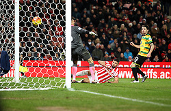 Jonathan Walters of Stoke City scores a goal past Declan Rudd of Norwich City - Mandatory byline: Robbie Stephenson/JMP - 13/01/2016 - FOOTBALL - Britannia Stadium - Stoke, England - Stoke City v Norwich City - Barclays Premier League