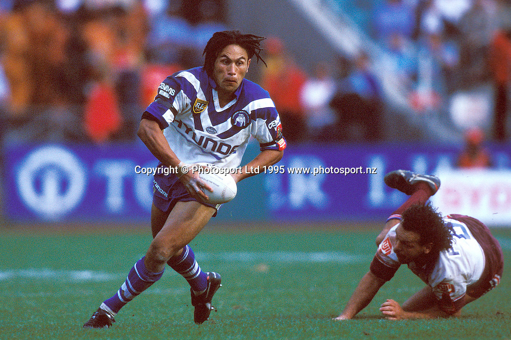 Bulldogs centre John Timu in action during the Winfield Cup rugby league final between the Canterbury Bulldogs and Manly Sea Eagles, 1995. Photo: Andrew Cornaga/PHOTOSPORT
