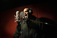 Dicember 11, Cairo 2011. Egypt. Mc Sphinx recording a new track. He was born in L.A. (US) from an egyptian family. He decided to live in Egypt since 2005, learn Arabic and fight for the egyptian rights.