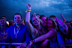 Excited festivalgoers at the Brownstock Festival in Essex.