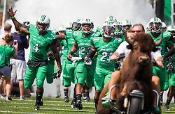 Sep 6, 2015; Huntington, WV, USA; Marshall Thundering Herd players run out onto the field before their game against the Purdue Boilermakers at Joan C. Edwards Stadium. Mandatory Credit: Ben Queen-USA TODAY Sports
