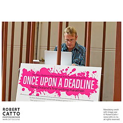 Writers race to complete a short story in six locations scattered around the city, then return to the Festival Club for a read-off in Once Upon A Deadline, part of the New Zealand International Arts Festival 2008 in Wellington.