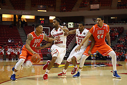 21 November 2015:  Josh Ibarra(44) screens Deontae Hawkins(23) as Caleb Crayton(11) looks to go past Tony Wills(12).Illinois State Redbirds host the Houston Baptist Huskies at Redbird Arena in Normal Illinois (Photo by Alan Look)
