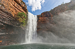 Cathedral Falls in the Prince Regent River at the end of the Kimberley wet season.