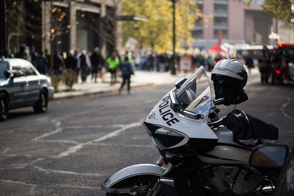 A Seattle police motorcycle is parked downtown