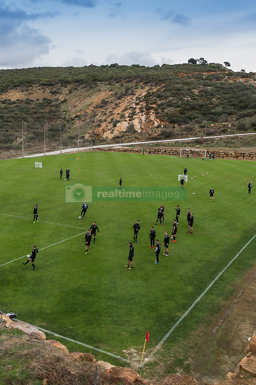 the players of Heracles at the training pitch during a training session of Heracles Almelo at the Don Julia resort on January 09, 2018 in Estepona, Spain