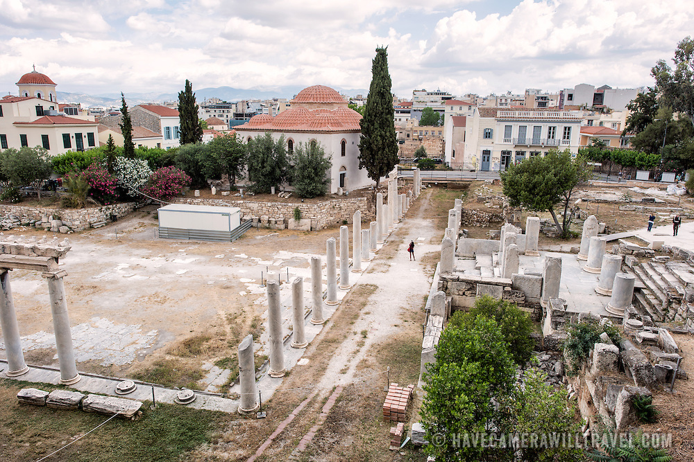 Built between 19 BC and 11 BC, the Roman Agora was the commercial center of ancient Athens. It featured a large rectangular building with an open courtyard surrounded by shops, storerooms, and offices.
