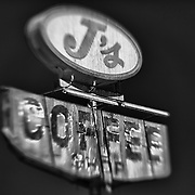 J's Coffee Shop Sign Northbound View - Delano, CA - Highway 99 - HDR - Lensbaby - Infrared Black & White