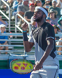 February 25, 2018 - Delray Beach, FL, US - FRANCIS TIAFOE (US) clenches fist in victory. He won the Delray Beach Open Men's Single Final at the Delray Beach Tennis Stadium. TIAFOE beat PETER GOJOWCZYK (Ger) 6-1, 6-4. (Credit Image: © Arnold Drapkin via ZUMA Wire)