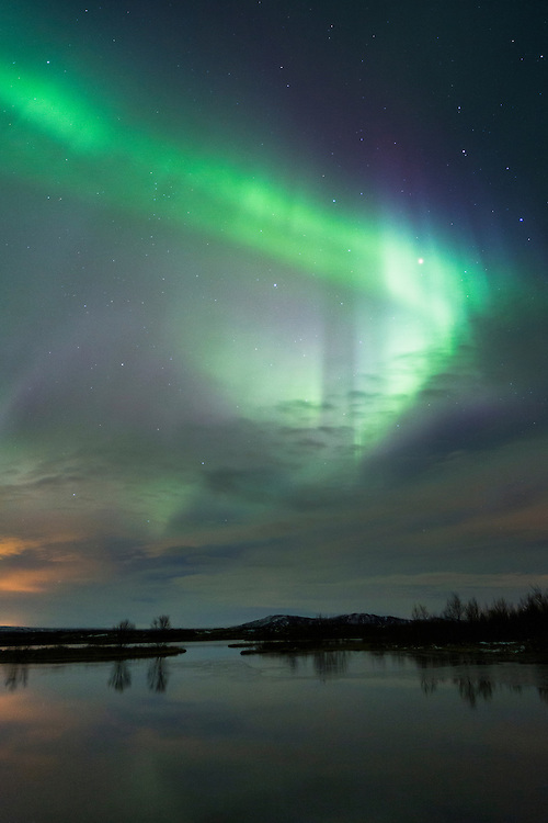 Aurora Borealis, Northern lights, over Þingvellir