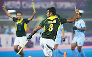 BHUBANESWAR (India) -  Hero Champions Trophy hockey men. Semifinal India vs Pakistan. Muhammad Irfan of Pakistan has scored 2-3. Photo Koen Suyk