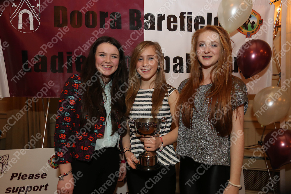 Kate Dillon, Amanda Mulcaire and Anna Courtney pictured at the DooraB for the Ladies Football Medal Presentation at the Old Ground Hotel on Saturday.<br /> Pic. Brian Arthur/ Press 22.