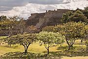 Building K of Monte Albán pre-Columbian archaeological site in the Santa Cruz Xoxocotlán, Oaxaca, Mexico.