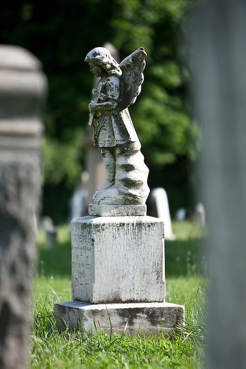 A statue of an angel in the Congressional Cemetery.