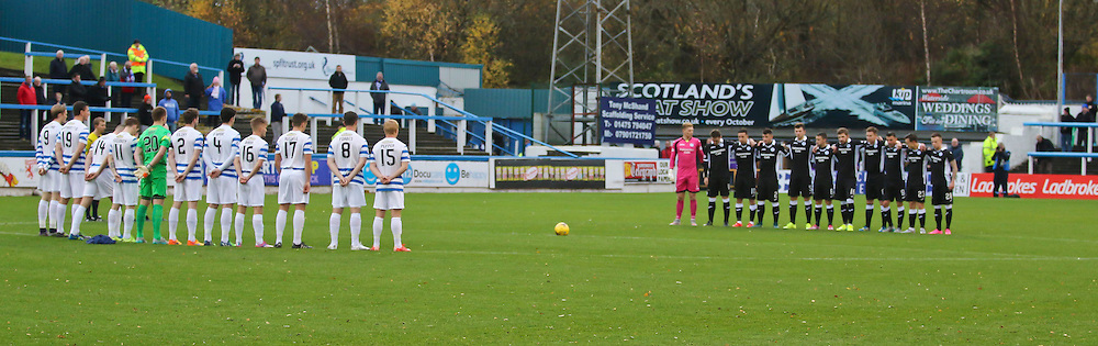 Munites silence for the people of Paris  during the Morton v Queen of the South Scottish Championship 14  November 2015 <br /> <br /> (c) Andy Scott | SportPix.org.uk