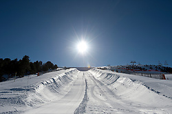 A blank canvas for the banked slalom course.
