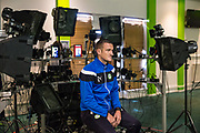 Forest Green Rovers Lee Collins(5) has his face scanned by FIFA18 during the Forest Green Rovers Photocall at the New Lawn, Forest Green, United Kingdom on 31 July 2017. Photo by Shane Healey.