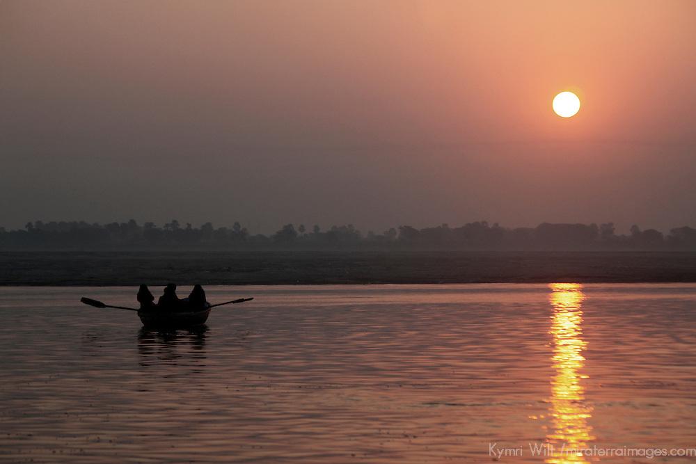 Asia, india, Varanasi. Sunrise on the holy Ganges River at Varanasi.