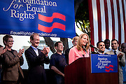 Sandra Stier, one of the plaintiffs against Prop. 8, addresses the crowd during a rally after Prop. 8 was proved unconstitutional and overturned by Judge Walker.