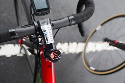 Inspirational stem cup on the bike of Cecilia Uttrup Ludwig (DEN) of Cervélo-Bigla Cycling Team before Stage 2 of the Emakumeen Bira - a 90.8 km road race, starting and finishing in Markina Xemein on May 18, 2017, in Basque Country, Spain. (Photo by Balint Hamvas/Velofocus)