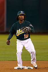 June 28, 2011; Oakland, CA, USA; Oakland Athletics second baseman Jemile Weeks (19) stands at second base against the Florida Marlins during the second inning at the O.co Coliseum.  Oakland defeated Florida 1-0.