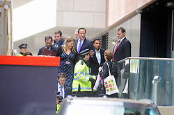 © Licensed to London News Pictures. 23/05/2013.Woolwich Soldier Murder. David Cameron leave Woolwich Town Centre Building by the back door today (23.05.2013).Woolwich 'terrorist attack': One dead and two seriously injured. Woolwich Barracks,Woolwich..Photo credit :Grant Falvey/LNP