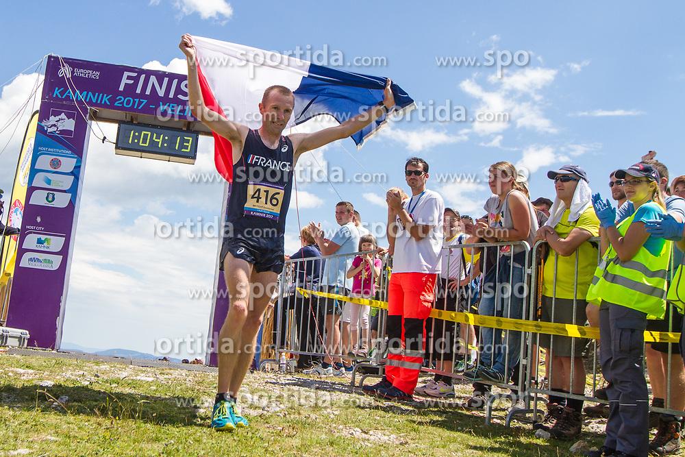 Emmanuel Meyssat from France (4rd place senior men) at European mountain running championships in Kamnik / Velika planina on 8th July 2017. Photo by: Peter Kastelic / Sportida