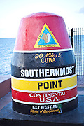 Southernmost Point in the continental USA marker on Key West, Florida.