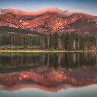 Summer sunrise at Sprague Lake in Rocky Mountain National Park, Colorado.