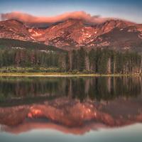 Summer sunrise at Sprague Lake in Rocky Mountain National Park, Colorado.
