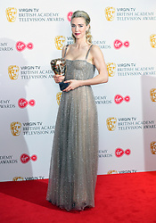 Vanessa Kirby with her award for Best Supporting Actress in the press room at the Virgin TV British Academy Television Awards 2018 held at the Royal Festival Hall, Southbank Centre, London.