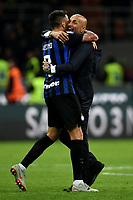 Luciano Spalletti coach of Internazionale celebrates the victory with Matias Vecino at the end of the Serie A 2018/2019 football match between Fc Internazionale and AC Milan at Giuseppe Meazza stadium Allianz Stadium, Milano, October, 21, 2018 <br />  Foto Andrea Staccioli / Insidefoto