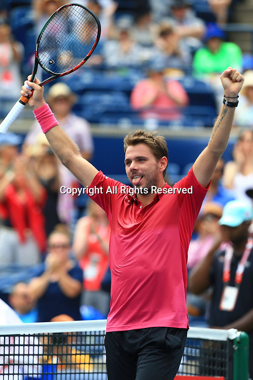 29.07.2016. Toronto, ONT, Canada.  Stan Wawrinka of Switzerland celebrates victory after the quarterfinal match of men's singles against Kevin Anderson of South Africa at the 2016 Rogers Cup in Toronto, Canada, July 29, 2016. Stan Wawrinka won 2-0.
