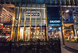 Night view of Gaucho restaurant in St Andrews Square in Edinburgh, Scotland, United Kingdom