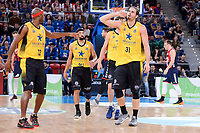 Iberostar Tenerife's Tariq Kirksay, David White, and Georgios Bogris during Quarter Finals match of 2017 King's Cup at Fernando Buesa Arena in Vitoria, Spain. February 16, 2017. (ALTERPHOTOS/BorjaB.Hojas)