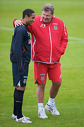 CARDIFF, WALES - Tuesday, October 7, 2008: Wales' manager John Toshack and defender Ashley Williams during training at the Vale of Glamorgan Hotel ahead of the 2010 FIFA World Cup South Africa Qualifying Group 4 match against Liechtenstein. (Photo by David Rawcliffe/Propaganda)