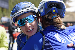 Katie Hall celebrates the win with teammate, Tayler Wiles at Amgen Breakaway from Heart Disease Women's Race empowered with SRAM (Tour of California) - Stage 2. A 108km road race in South Lake Tahoe, USA on 12th May 2017.
