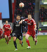 Dundee's Luka Tankulic and Aberdeen&rsquo;s Mark Reynolds -  Aberdeen v Dundee, SPFL Premiership at Pittodrie<br /> <br />  - &copy; David Young - www.davidyoungphoto.co.uk - email: davidyoungphoto@gmail.com