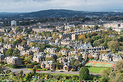 View of large villas in upmarket Morningside district of Edinburgh in Scotland, United Kingdom.