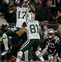 New York Jets wide receiver Braylon Edwards (17) celebrates his touchdown with teammate tight end Dustin Keller (81) in the second quarter of the AFC division playoff game against the New England Patriots at Gillette Stadium in Foxboro, Massachusetts on January 16, 2011.    UPI/Matthew Healey
